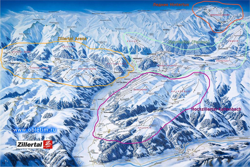 Горнолыжная карта долины Циллерталь (Zillertal)