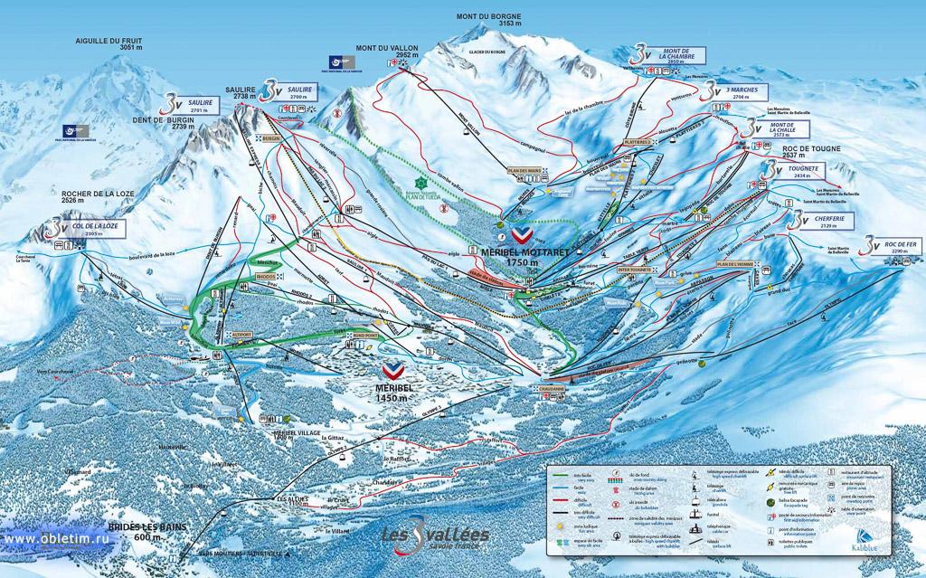 Карта и схема катания Мерибель, Франция