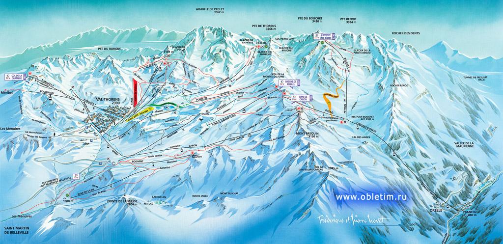 Схема катания и карта Валь Торанс (Val Thorens)