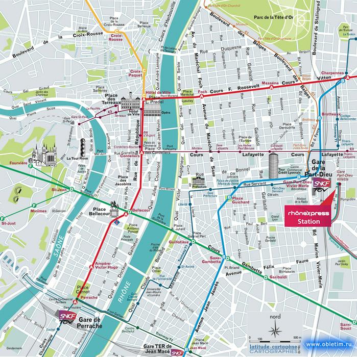 Туристическая карта города Лион