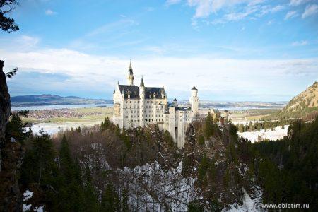 Замок Нойшванштайни Хоэншвангау в Баварии (Германия)