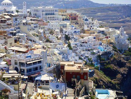 С острова Крит на Санторини. Города Фира и Иа.