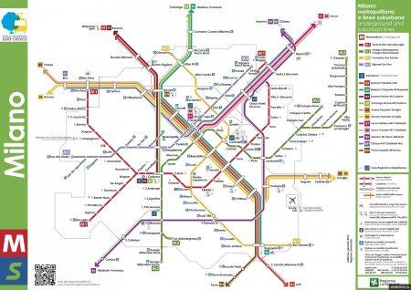 Карта и схема остановок общественного транспорт в Милане