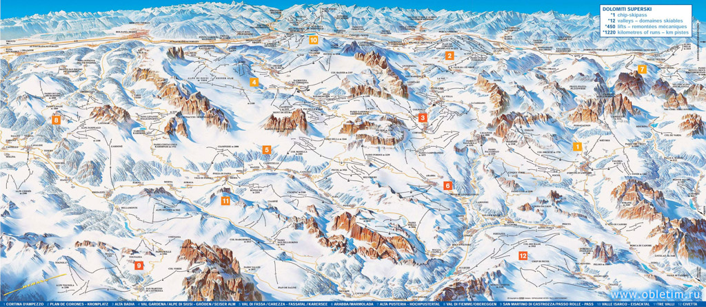 Карта и схема катания Доломиты Суперски