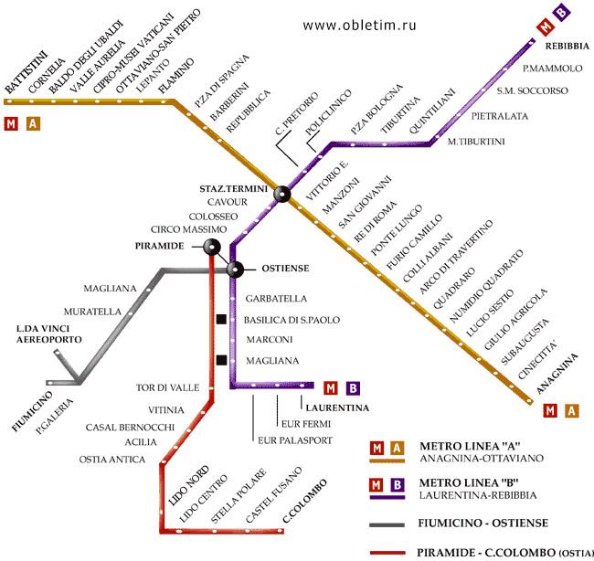 Схема метро Рим